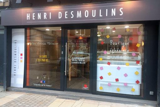 Façade de la boutique éphémère Henri Desmoulins