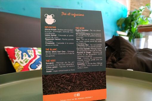 Carte des thé d'Aussie Frenchi